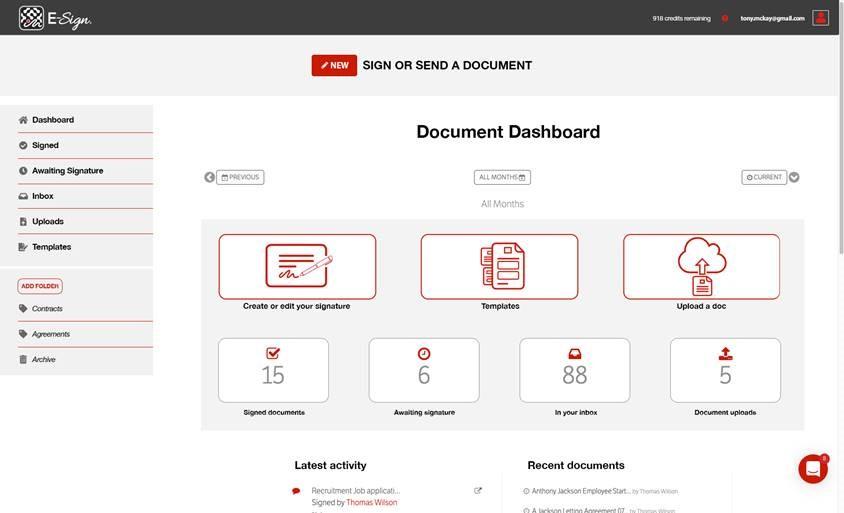 E-Sign Document Dashboard