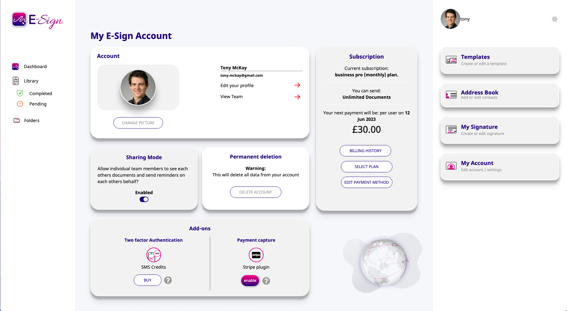 new account dashboard e-sign