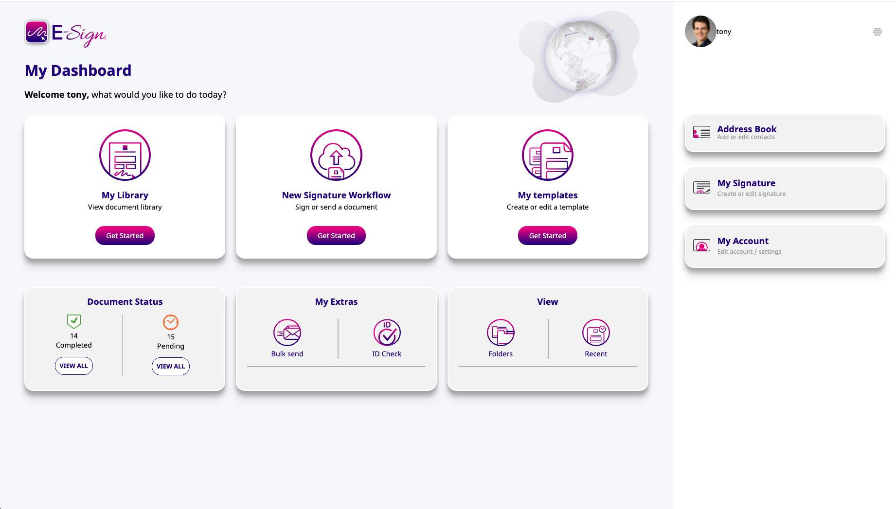 new dashboard user interface e-sign
