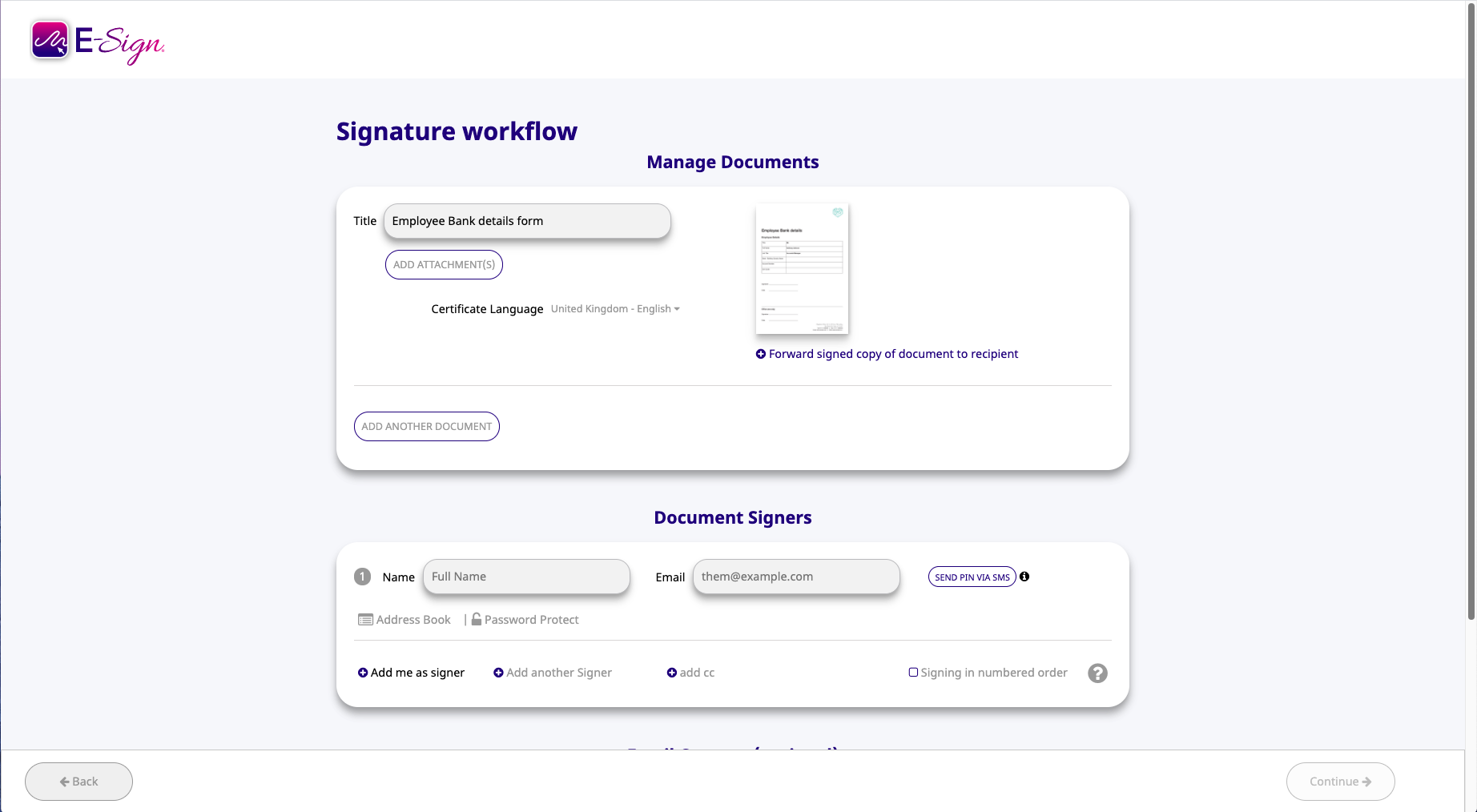 new signature workflow e-sign